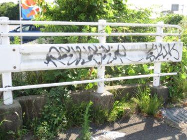 【ストリート落書き No.0008】国道沿いの歩道橋とガードレールに。