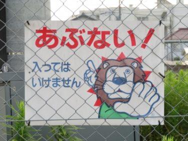 【チュウイビト・立入禁止看板 No.0007】服着たライオンが注意!