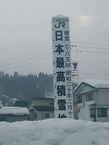 【おもしろオブジェ No.0029】7m85cm!日本最高積雪地点の標柱