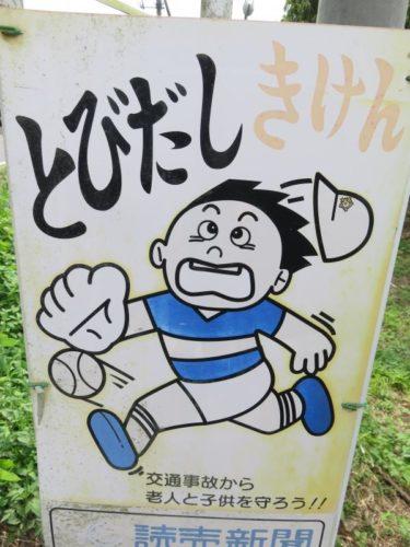 【飛び出し坊や・歩行者注意看板 No.0002】なぜか旭日章の帽子をかぶる少年