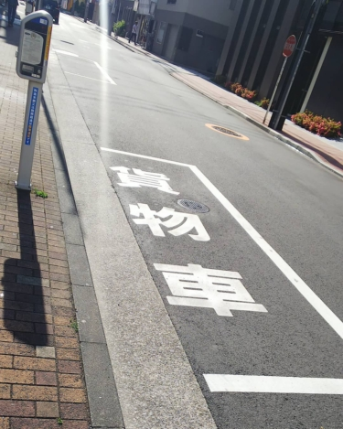【おもしろ路面標示 No.0007】貨物車専用の路上パーキング