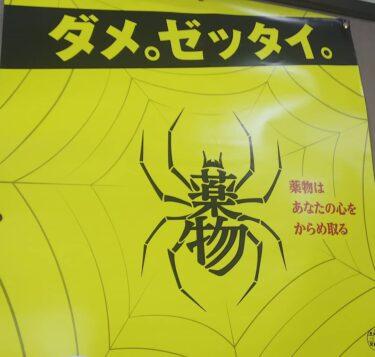 【おもしろ貼り紙・おもしろ幕 No.0051】薬物蜘蛛、こえぇ…。